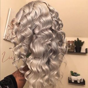 Silver Titanium Human Hair Full Lace Wig 100% qual